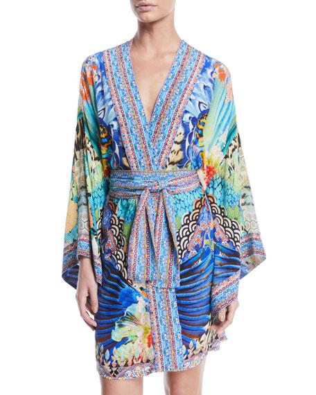 Camilla Printed Silk Kimono Coverup Robe with Belt