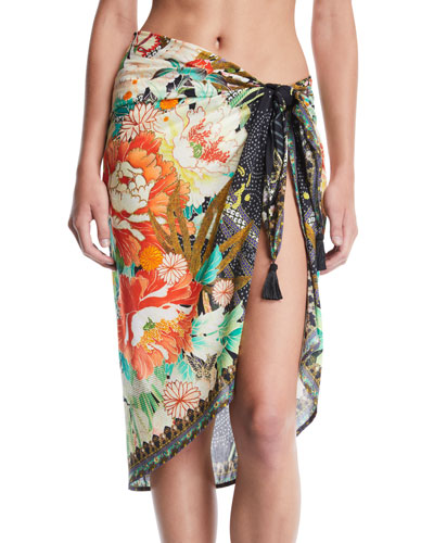 Floral Printed Sarong Coverup with Tassels