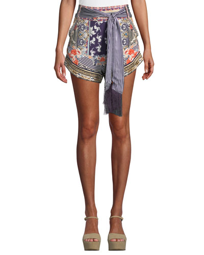 Printed Silk High-Cut Shorts with Tie