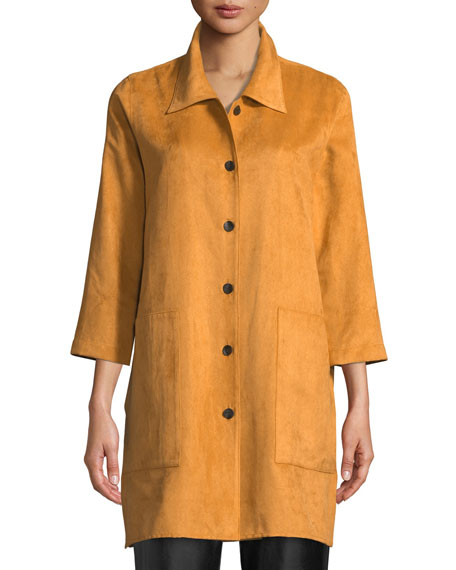 Caroline Rose Modern Faux-Suede Shirt, Petite