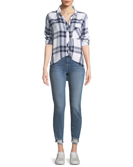 Roxanne Straight-Leg Jeans w/ Destroyed Hem