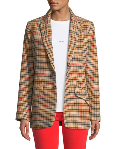 The Date Night Two-Button Check Blazer