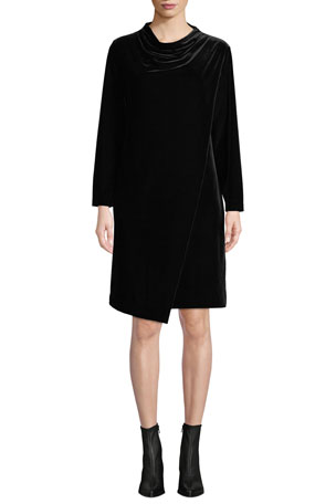 Joan Vass Plus Size Long-Sleeve Draped-Front Velvet Dress w/ Side Pockets