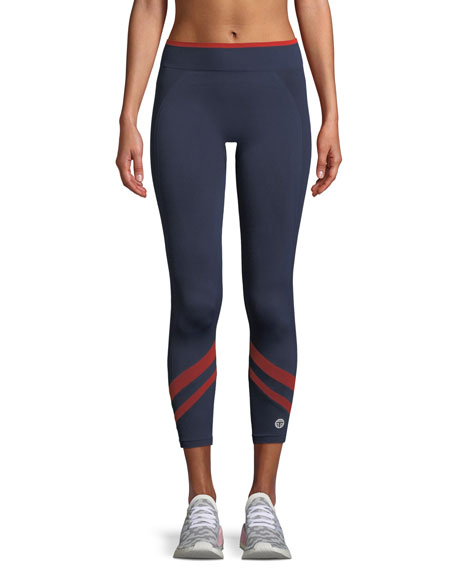 Tory Sport Seamless Chevron Cropped Activewear Leggings