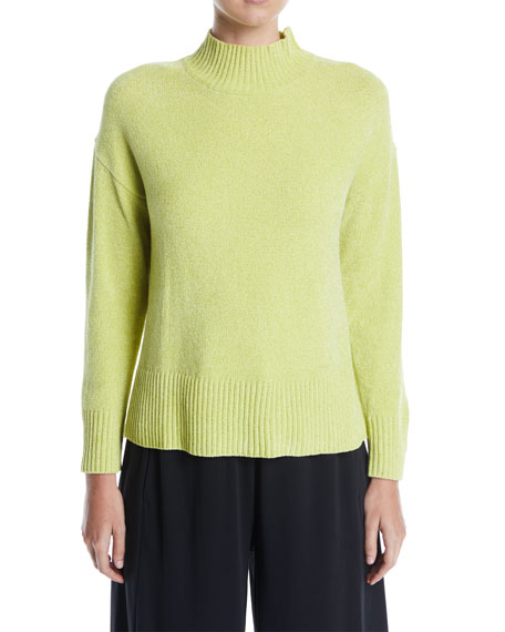 Joan Vass Mock-Neck Chenille Pullover Sweater