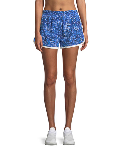 Floral-Print Pull-On Running Shorts