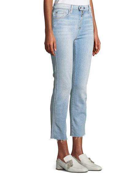 Edie Straight-Leg Raw-Edge Jeans w/ Exposed Zipper