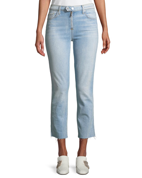7 for all mankind Edie Straight-Leg Raw-Edge Jeans