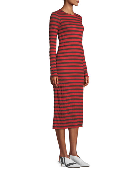 The Breton Striped Long-Sleeve Midi Dress