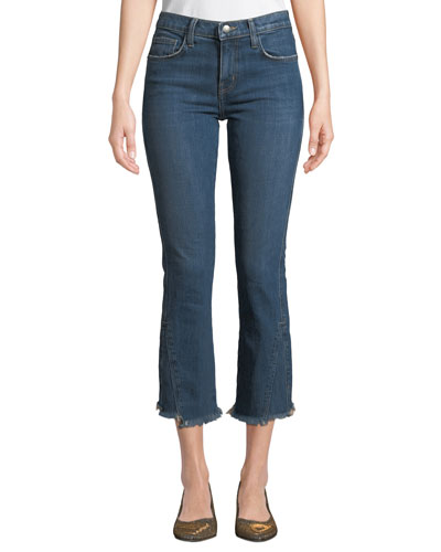 The Fan Frayed Straight-Leg Cropped Jeans with Raw Hem