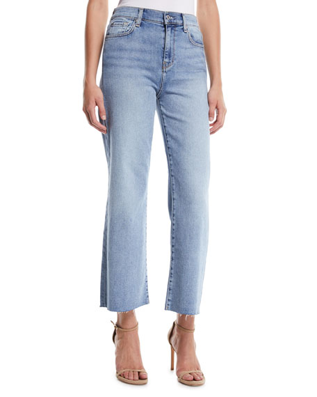 7 for all mankind Alexa Cropped Wide-Leg Raw-Edge