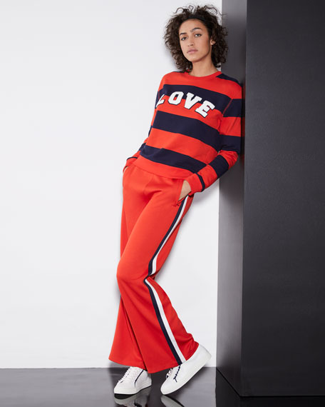 Love Striped Yarn-Dyed Graphic Sweatshirt