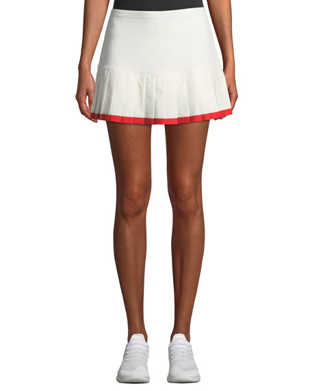 Pleated Tennis Skirt W/ Contrast Hem in White/Red