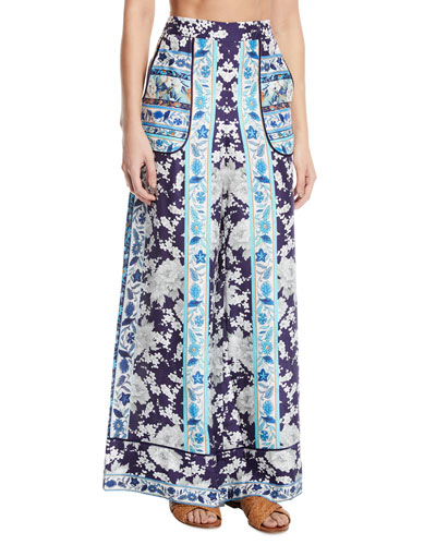 Cuffed Floral-Print Wide-Leg Lounge Coverup Pants