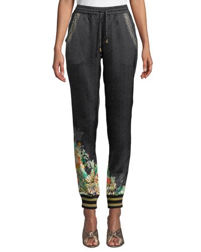 Printed Silk Drawstring Jogger Pants