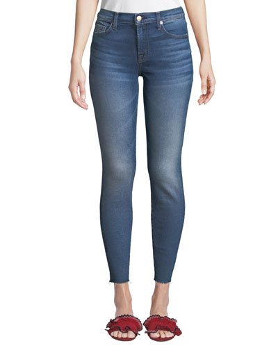 High-Rise Ankle Skinny with Raw Hem