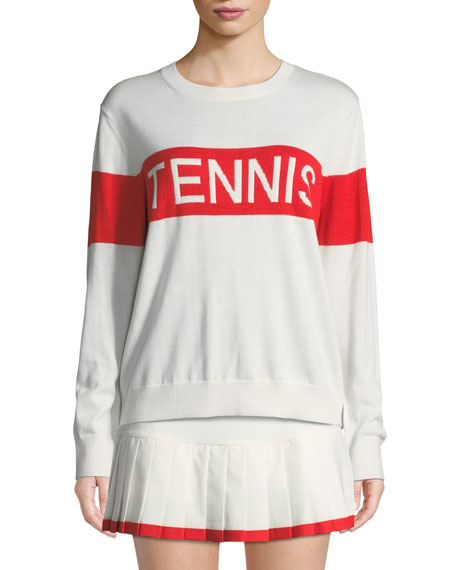 Performance Cashmere Tennis Sweater in White/Red