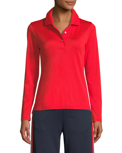 Tech Pique Long-Sleeve Polo Shirt