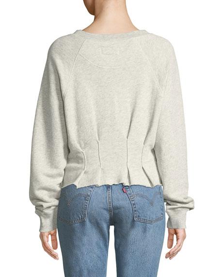The Pintucked Raw-Edge Crewneck Sweatshirt