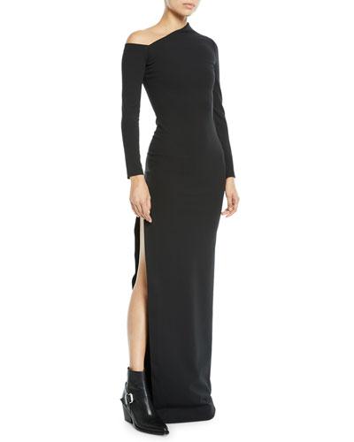 Liva Crepe One-Shoulder Split Gown