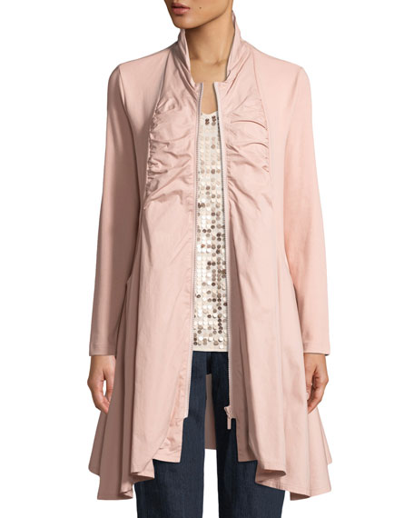 Joan Vass Zip-Front Stretch Interlock/Woven Combo Jacket, Plus