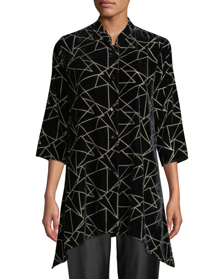 Caroline Rose Triangle Devore Velvet Button-Front Tunic and
