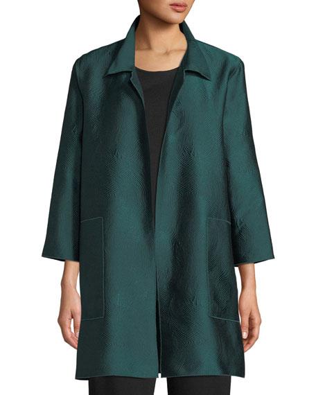 CAROLINE ROSE Zen Garden Jacquard Shirt Jacket, Plus Size in Evergreen