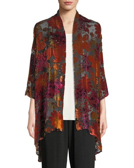 Caroline Rose Evening Bouquet Velvet Burnout Cardigan and