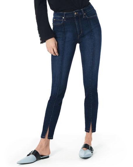 Flawless - Charlie Pintuck High Waist Ankle Skinny Jeans, Medium Blue