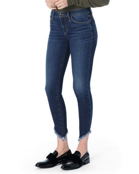 The Icon Ankle Skinny Jeans with Diagonal Fray Hem