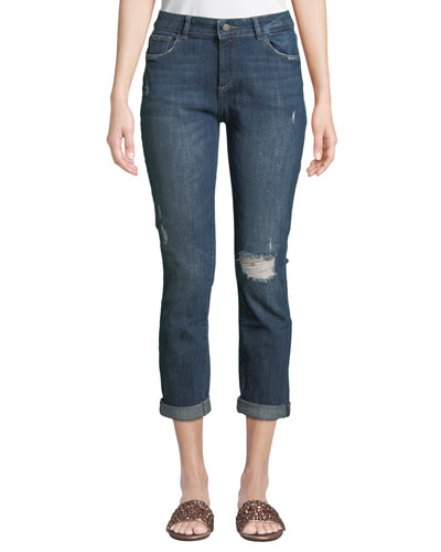 Stevie Distressed Slim Boyfriend Jeans