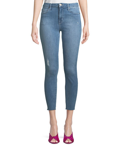 Bombshell Cropped Skinny Jeans with Light Distressing