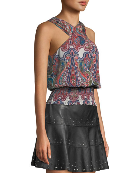 Lorenza Printed Cross-Front Silk Top