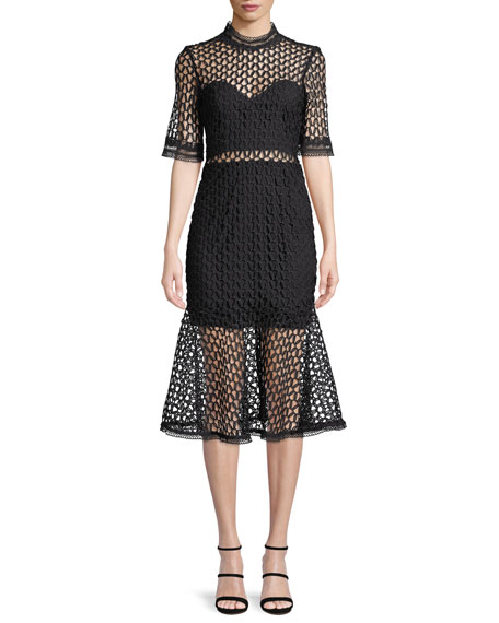 Fiona Mesh Funnel-Neck Midi Dress