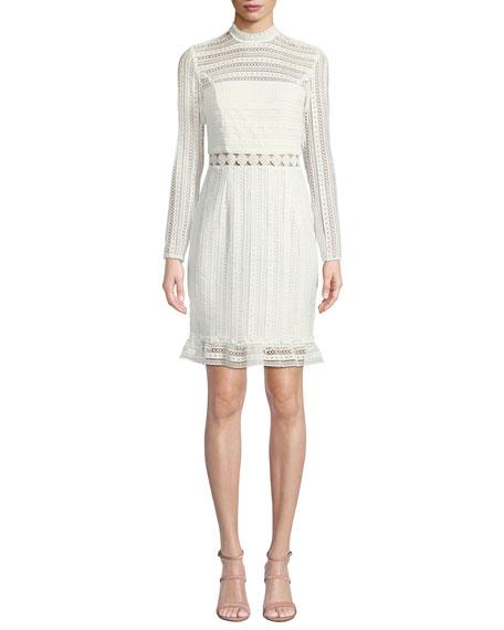 Vivian Splice High-Neck Lace Dress