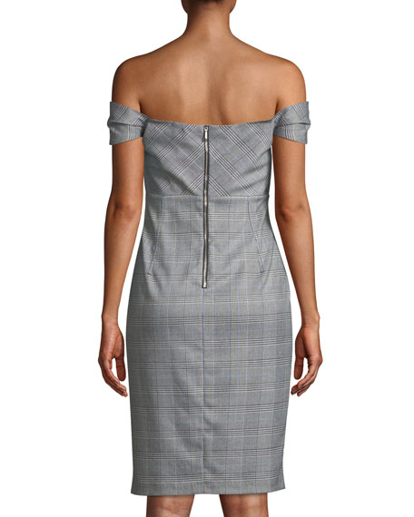 Bella Off-the-Shoulder Check Cocktail Dress