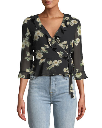 Catalina Floral-Print Ruffle Wrap Top