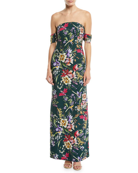 Galiana Strapless Floral Bodycon Long Gown Dress