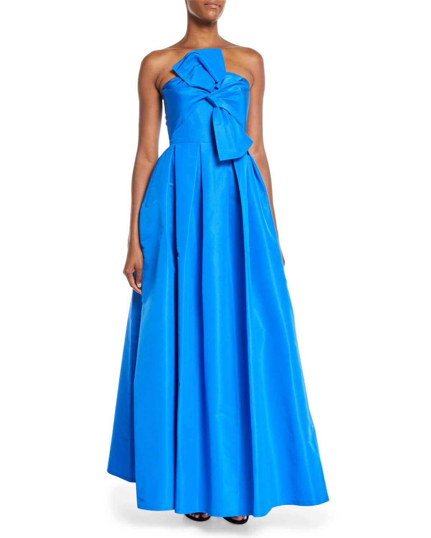Sachin & Babi Noir Leora Strapless Silk Ball Gown w/ Bow   Neiman Marcus
