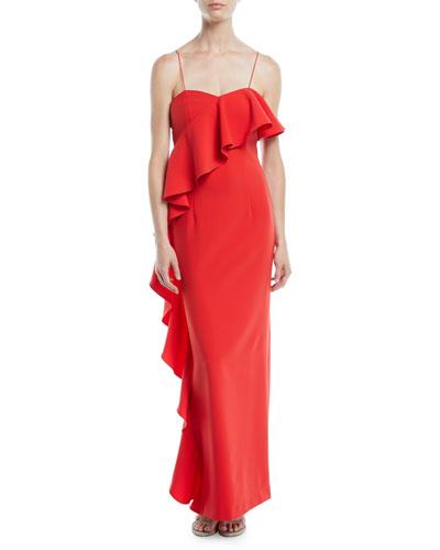 Maxi Column Gown w/ Asymmetrical Ruffle