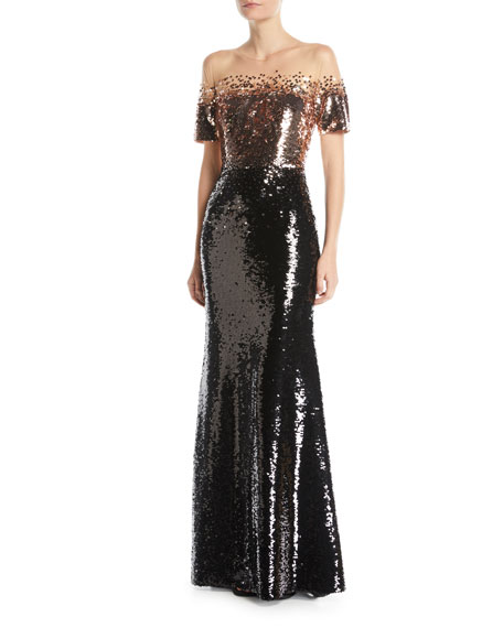 Fiona Off-the-Shoulder Sequin Gown w/ Sheer Yoke