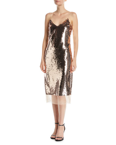 Dolly Sequin Cami Dress w/ Organza Trim