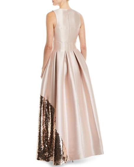 Kara Ball Gown w/ Asymmetric Sequin Trim