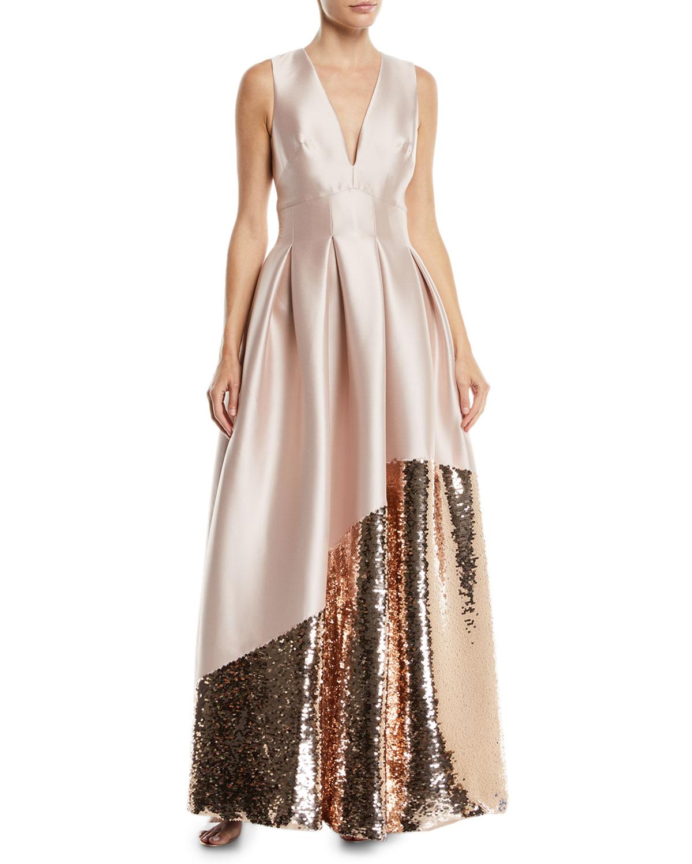Sachin Babi Noir Kara Ball Gown W Asymmetric Sequin Trim Neiman