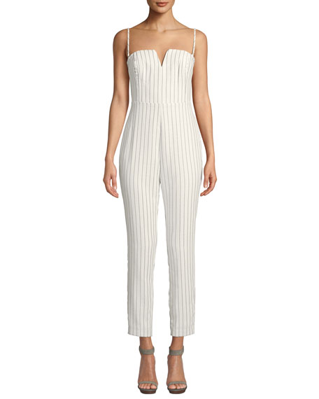 Nbd PAPILLON SLEEVELESS STRIPED JUMPSUIT