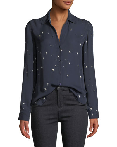 Nina Star-Print Button-Front Silk Top