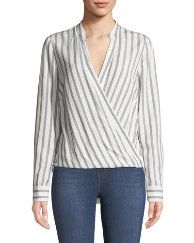 Kyla Striped V-Neck Draped Top