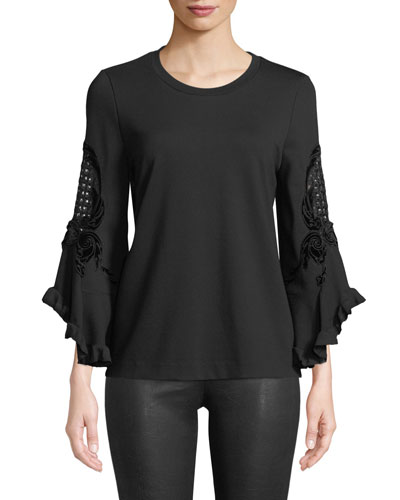 Tamara Embroidered-Sleeve Blouse
