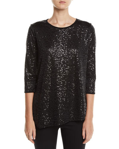 Angled Sequin Tunic Top, Plus Size