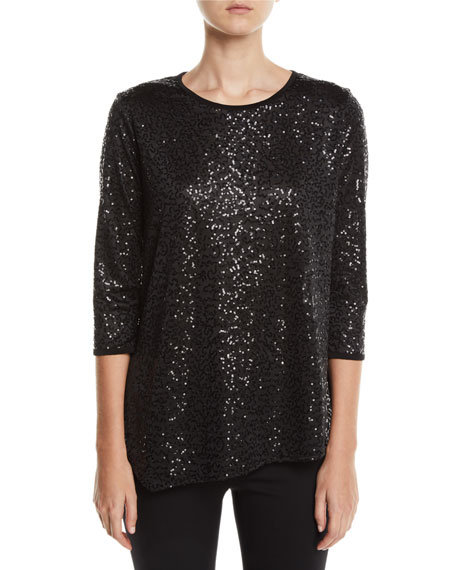 Caroline Rose Plus Size Angled Sequin Tunic Top Neiman